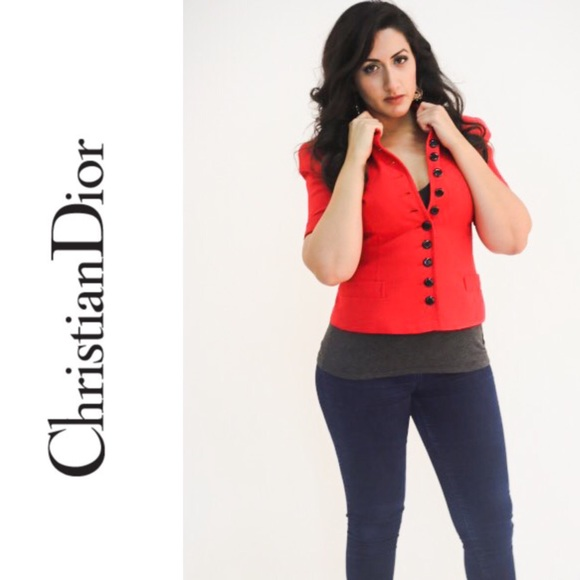 CHRISTIAN DIOR Red Buttoned Up Blazer / Jacket